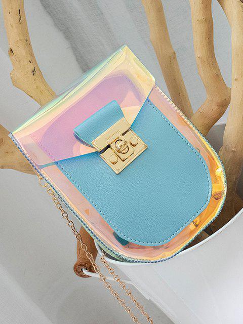 fashion Iridescent Spliced Twist-Lock Chain Crossbody Bag - LIGHT SKY BLUE  Mobile