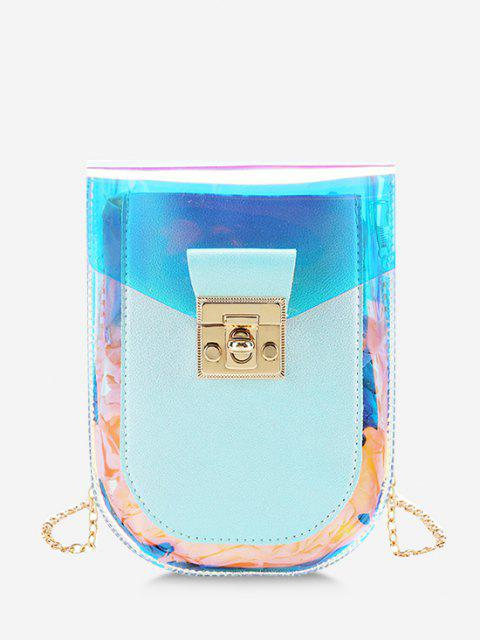 chic Iridescent Spliced Twist-Lock Chain Crossbody Bag - PALE BLUE LILY  Mobile
