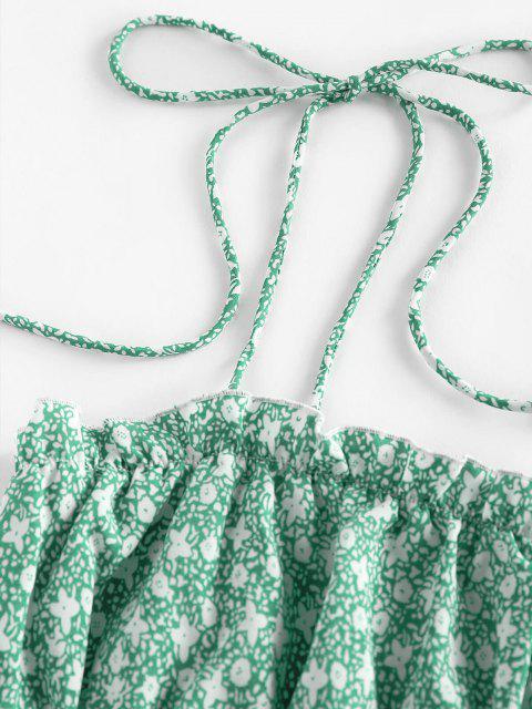 ZAFUL Camisole Fleurie Imprimée à Epaule Nouée à Volants - Vert clair S Mobile