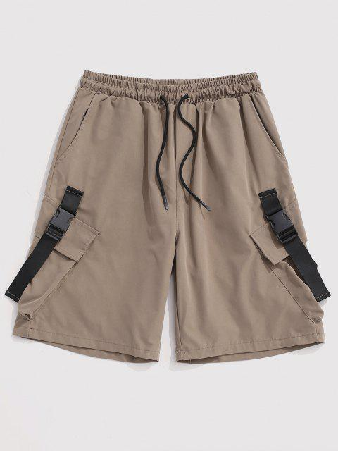 best Multi-Pocket Strap Drawstring Cargo Shorts - LIGHT KHAKI 2XL Mobile
