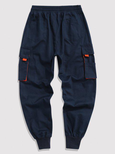 hot Contrasting Letter Beam Feet Cargo Pants - CADETBLUE L Mobile