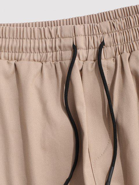 womens Contrasting Letter Beam Feet Cargo Pants - LIGHT KHAKI 3XL Mobile