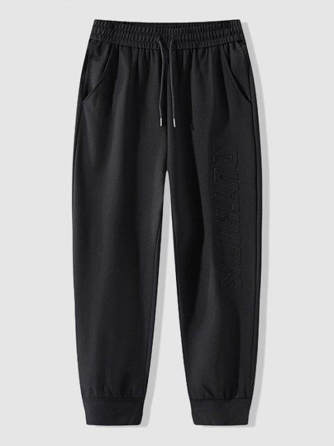 trendy Letter Embossed Sport Jogger Sweatpants - BLACK 4XL Mobile