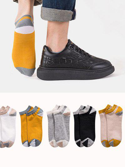 5 Pairs Colorblock No Show Socks Set - Multi-a