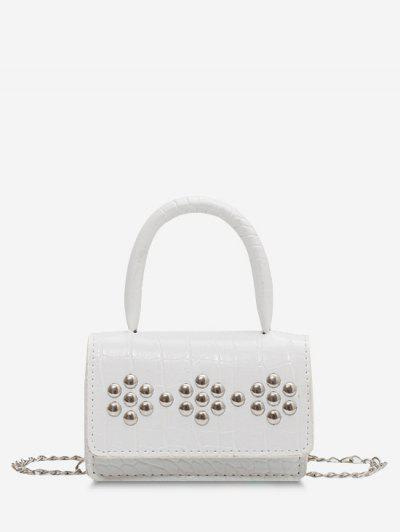 Rivet Embellished Embossed Chain Crossbody Bag - White
