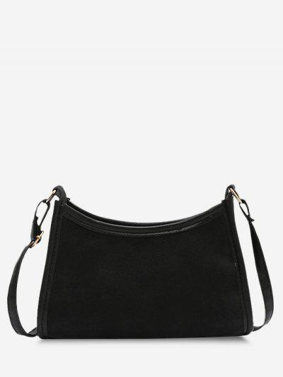 Frosted Texture Topstitching Binding Shoulder Bag - Black