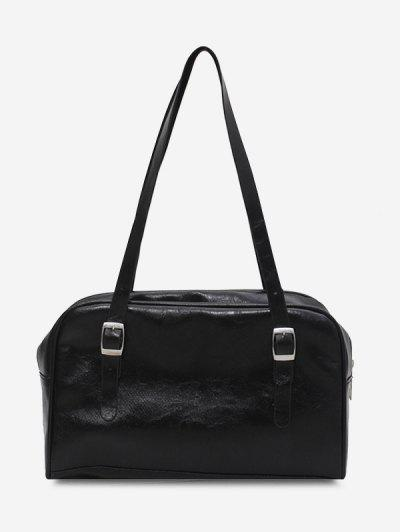 Retro Buckles Solid Shoulder Bag - Black