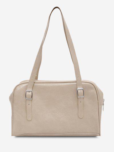 Retro Buckles Solid Shoulder Bag - White
