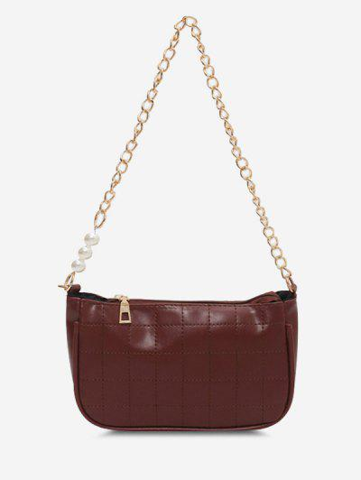 Faux Pearl Chain Stitching Shoulder Bag - Brown