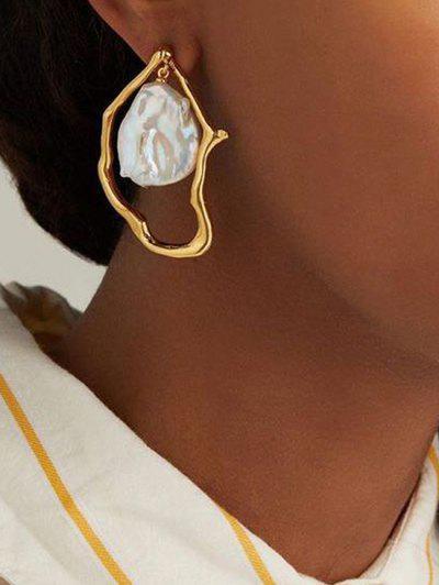 Boucles D'Oreilles Pendantes Irrégulières Avec Perles Fantaisies - D'or