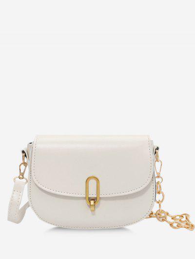 Flap Half Chunky Chain Saddle Bag - White