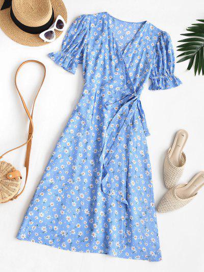 Puff Sleeve Daisy Print Wrap Dress - Blue S