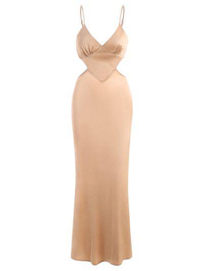 Silky Satin Cutout Maxi Slip Dress - Yellow L