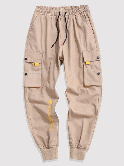 Contrasting Letter Beam Feet Cargo Pants - Light Khaki Xl