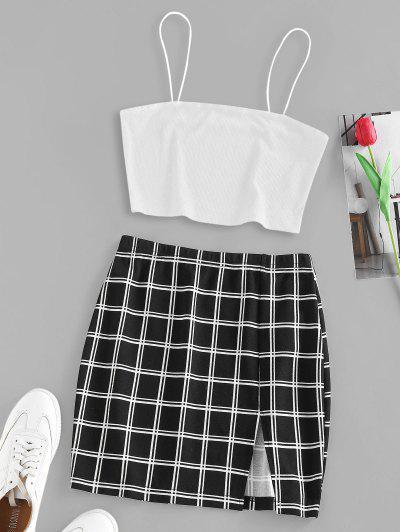 ZAFUL Ribbed Windowpane Check Slit Mini Skirt Set - White L