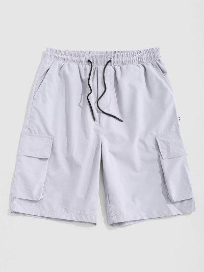 Multi-pocket Letter Patch Cargo Shorts - Gray M