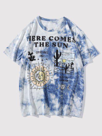 Himmelsplanet Mond Slogan Grafik Krawattenfärbender T-Shirt - Seiden Blau Xxl