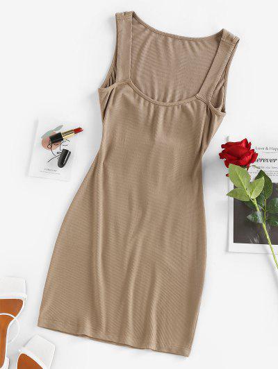 ZAFUL Ribbed Cutout Tie Tank Dress - Coffee M