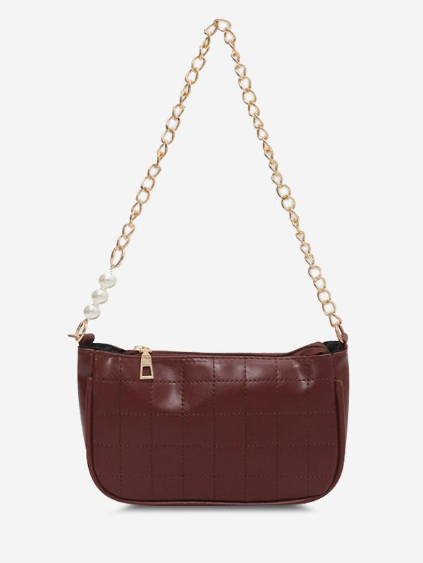 Faux Pearl Chain Stitching Shoulder Bag