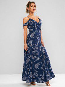 فستان بطبعات بيسلي باكتاف مكشوفة - ازرق غامق S