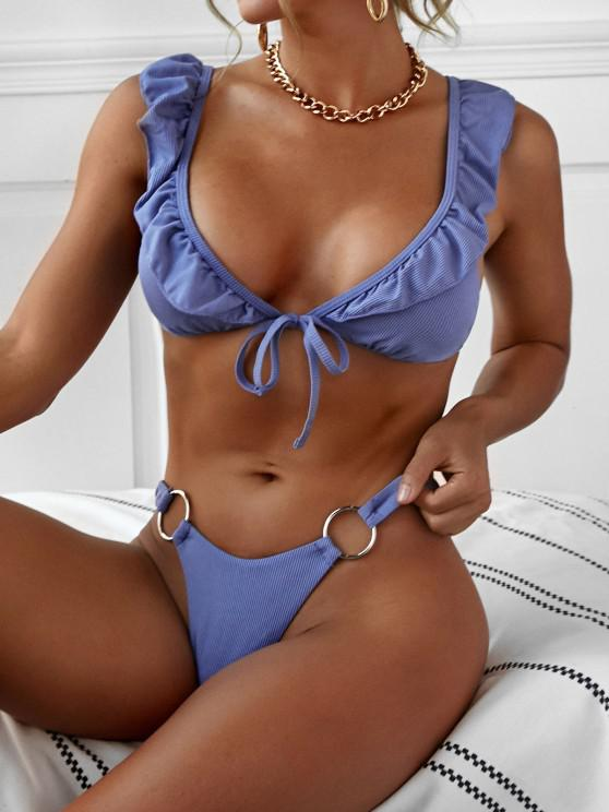 fancy ZAFUL O-ring Ribbed Ruffles High Cut Bikini Swimwear - LIGHT BLUE S