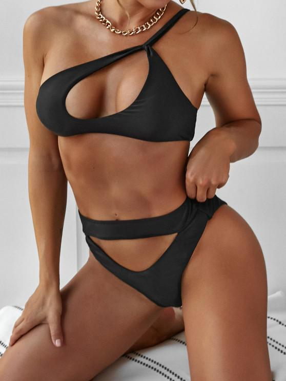 outfits ZAFUL Cutout One Shoulder High Waist Bikini Swimwear - BLACK S