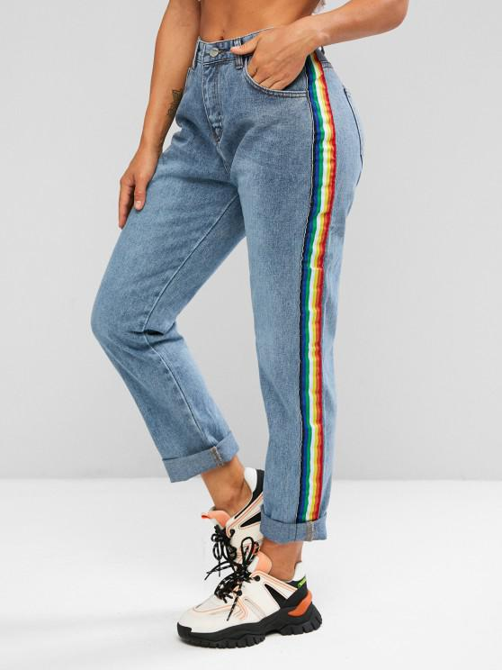 High Waisted Contrast Side Jeans - أزرق M