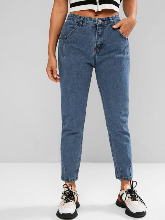 chic High Waisted Ninth Tapered Jeans - BLUE L