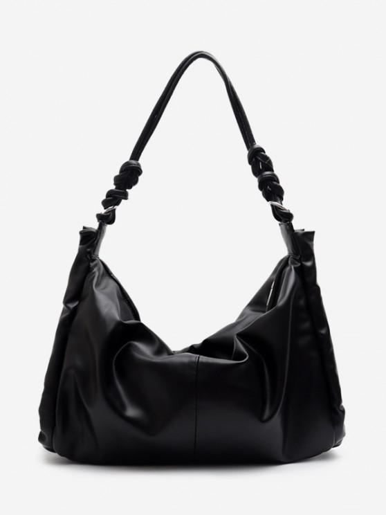 hot Knotted Strap Big Shoulder Bag - BLACK