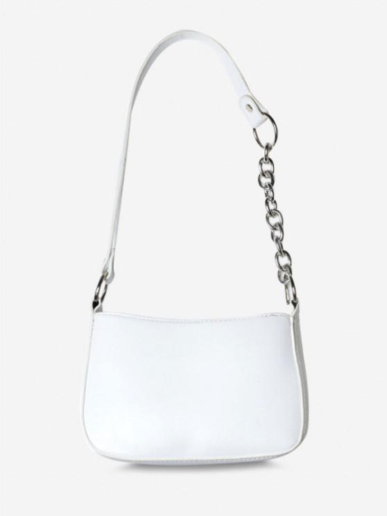Half Chain Strap Shoulder Bag - أبيض