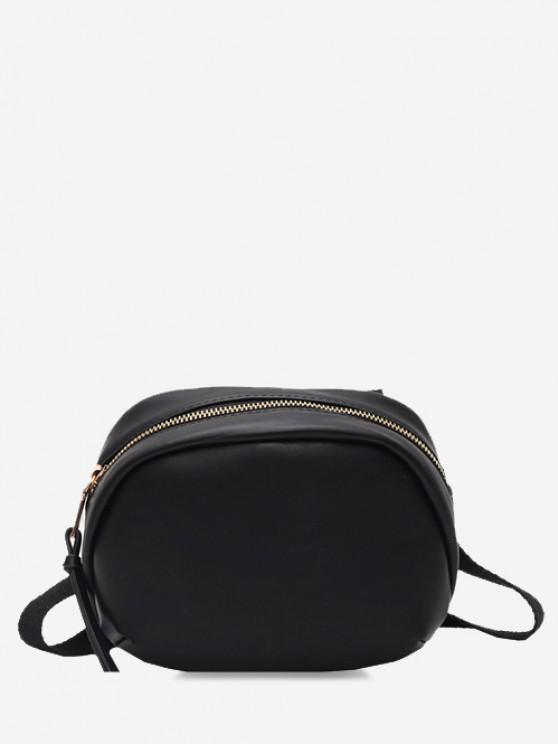 fancy Small Oval Solid Crossbody Bag - BLACK