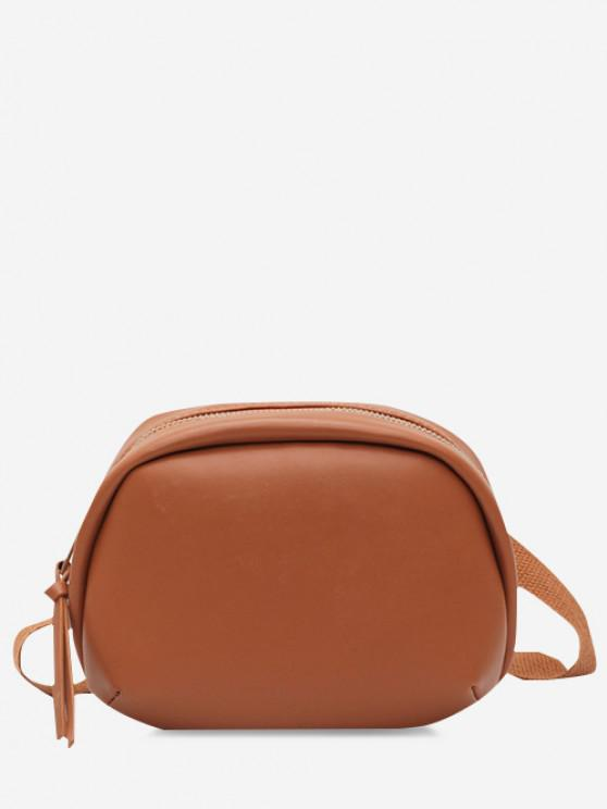 Small Oval Solid Crossbody Bag - بنى