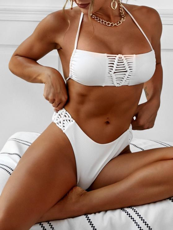 online ZAFUL Braided Trim Ribbed High Leg Cheeky Bikini Swimwear - WHITE S