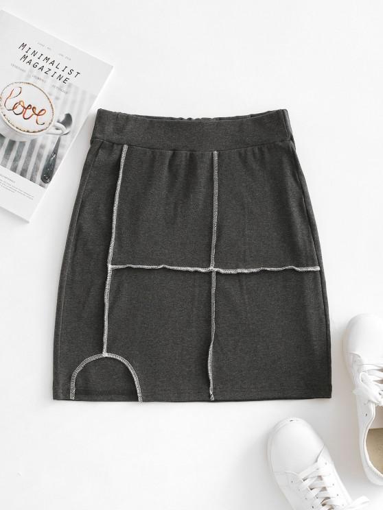 Mini Falda Bodycon Costura - Gris S