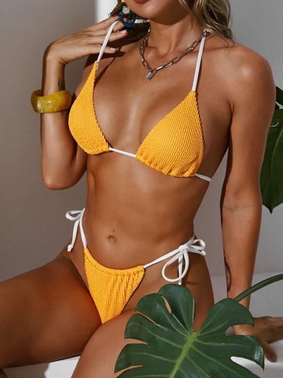 ZAFUL Smocked Tied Micro Loincloth Bikini Swimwear - الأصفر S