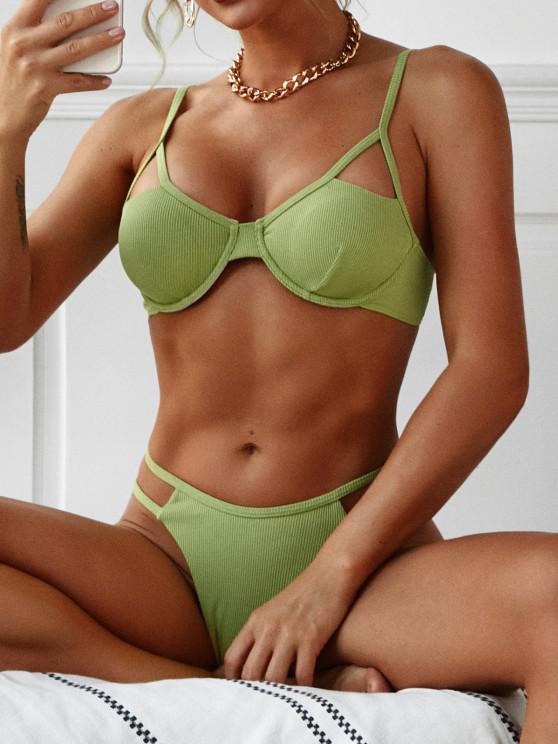ZAFUL Underwire Cutout Ribbed Bikini Swimwear - اخضر فاتح S