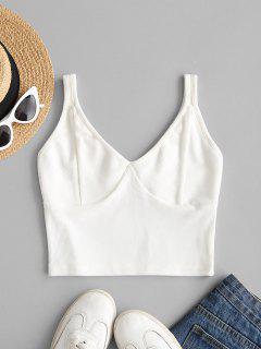 Rib-knit Crop Tank Top - White S