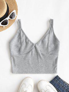 Rib-knit Crop Tank Top - Gray S