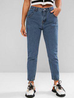 Jeans Fuselé 7 / 8 à Taille Haute - Bleu L