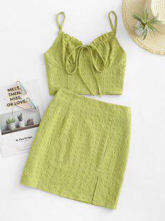 Tied Seersucker Slit Smocked Two Piece Skirt Set - Green M