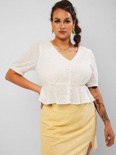 ZAFUL Eyelet Peplum Hem Button Up Plus Size Blouse - White 2xl