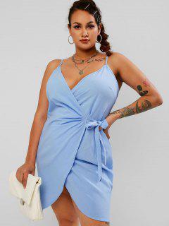 ZAFUL Plus Size Tied Mini Wrap Dress - Light Blue 2xl