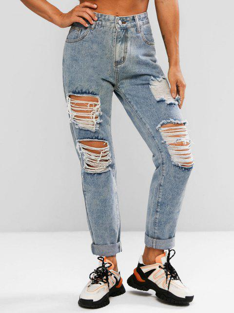 chic Ripped High Waisted Stovepipe Jeans - LIGHT BLUE L Mobile