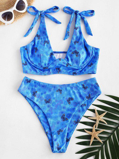 ZAFUL Set de Tankini Acolchado con Estampado de Mariposa - Azul S Mobile
