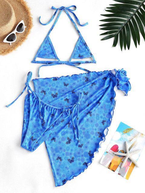 latest ZAFUL Ribbed Butterfly Daisy Three Piece Micro Bikini Swimwear - BLUE M Mobile