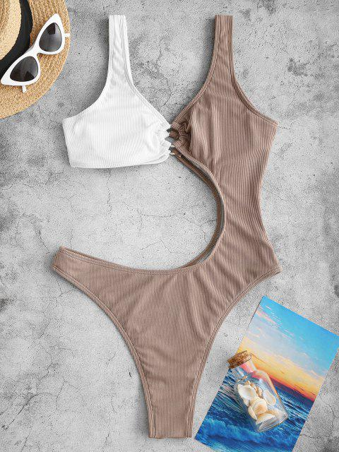 new ZAFUL Colorblock Ribbed Cut Out O-Ring Swimsuit - DEEP COFFEE M Mobile