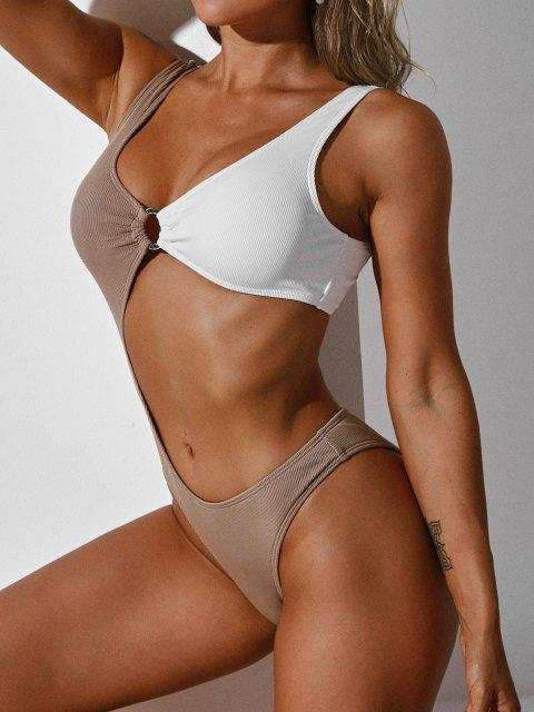 hot ZAFUL Colorblock Ribbed Cut Out O-Ring Swimsuit - DEEP COFFEE L Mobile