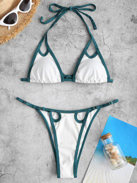 womens ZAFUL Cutout Contrast Binding High Cut Tanga Bikini Swimwear - WHITE S Mobile