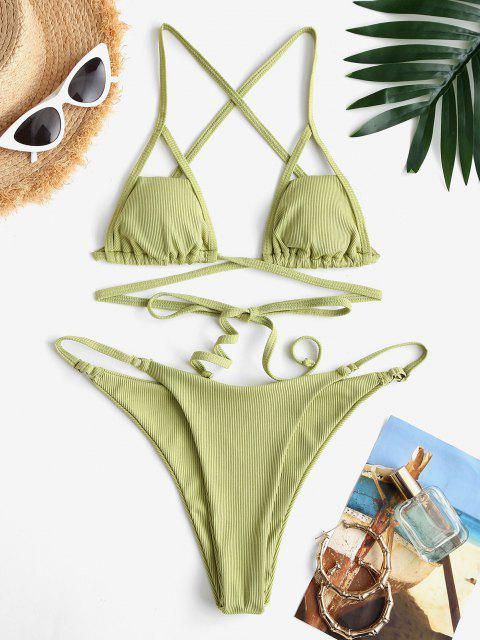 ZAFUL Costume da Bagno Bikini Incrociato e Surplice - Verde chiaro S Mobile