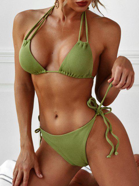 ZAFUL Gerippte Riemchen Bikini Badebekleidung - Hellgrün S Mobile